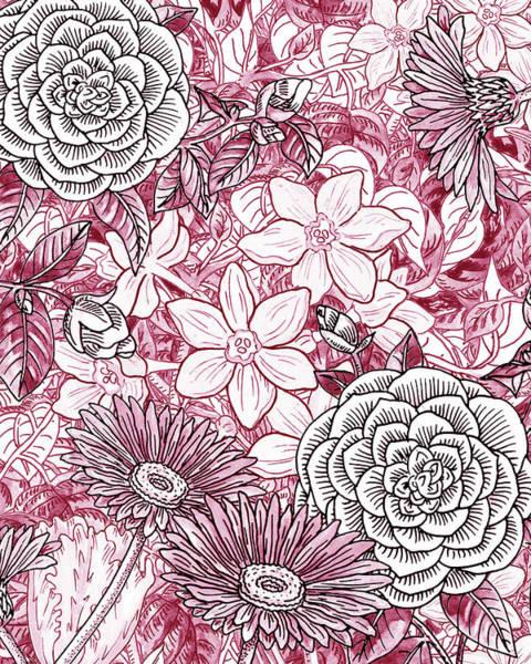 Painting - Pink Watercolor Botanical Flowers Garden Flowerbed I by Irina Sztukowski