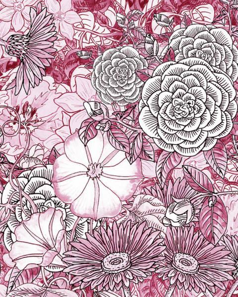 Painting - Pink Watercolor Botanical Flowers Garden Flowerbed IIi by Irina Sztukowski