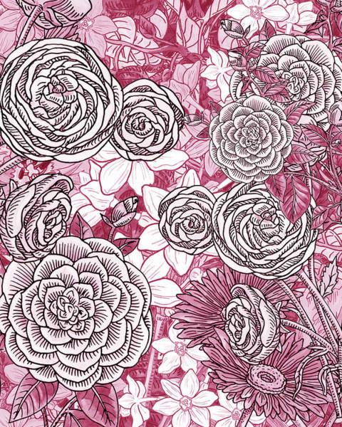 Painting - Pink Watercolor Botanical Flowers Garden Flowerbed Iv by Irina Sztukowski