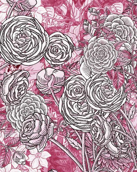 Painting - Pink Watercolor Botanical Flowers Garden Flowerbed V by Irina Sztukowski