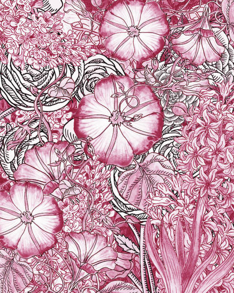 Wall Art - Painting - Pink Watercolor Botanical Flowers Garden Flowerbed Vi by Irina Sztukowski