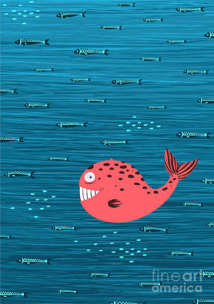 Wall Art - Digital Art - Pink Whale And Fish Underwater Cartoon by Popmarleo
