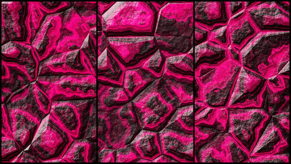 Digital Art - Pinkish Colored Stone Triptych by Don Northup