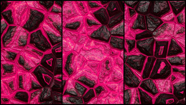 Digital Art - Pinkish Dynamic Wall Abstract Triptych by Don Northup
