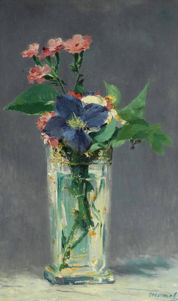 Wall Art - Painting - Pinks And Clematis In A Crystal Vase, 1882 by Edouard Manet