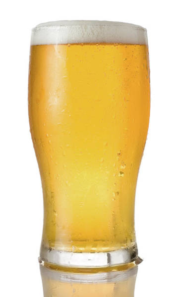 Lager Photograph - Pint Of Beer On A White Background by Lleerogers