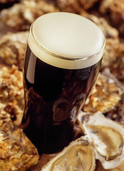 Wall Art - Photograph - Pint Of Guinness, With Oysters, Ireland by The Irish Image Collection