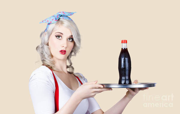 Soda Pop Photograph - Pinup Girl Waiter Holding Silver Soda Tray by Jorgo Photography - Wall Art Gallery