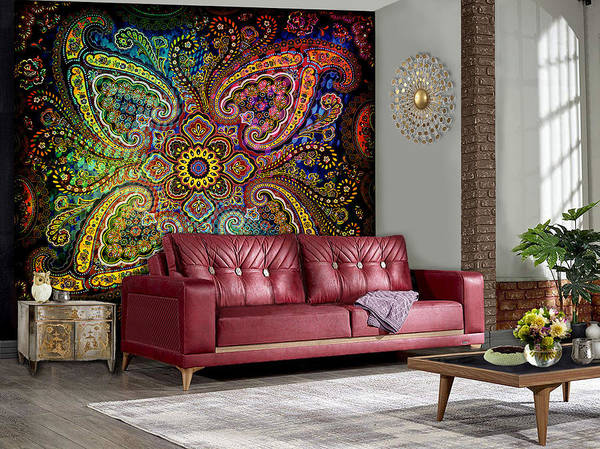 Wall Art - Digital Art - Pinwheel Paisley--artwork In Situ by Grace Iradian