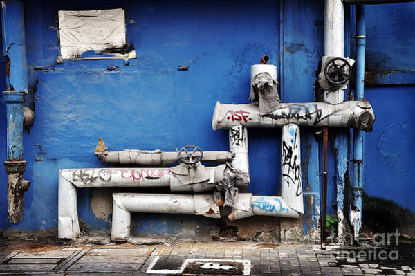 Wall Art - Photograph - Pipes And Blue Wall by Delphimages Photo Creations