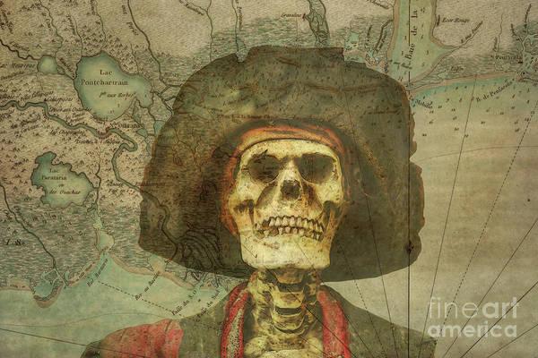 Wall Art - Digital Art - Pirate Skull On Treasure Map by Randy Steele