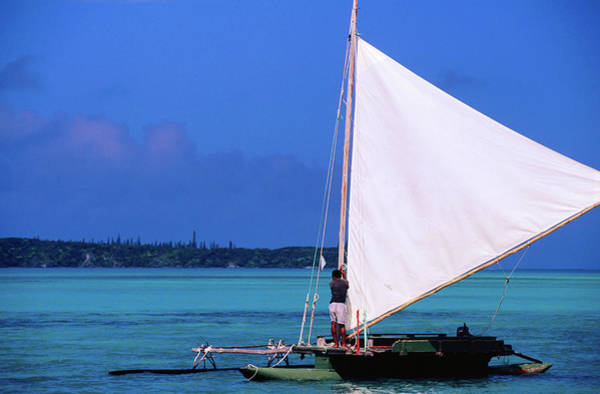 Canoe Photograph - Pirogue Outrigger Canoe With Sail, Ile by Peter Hendrie