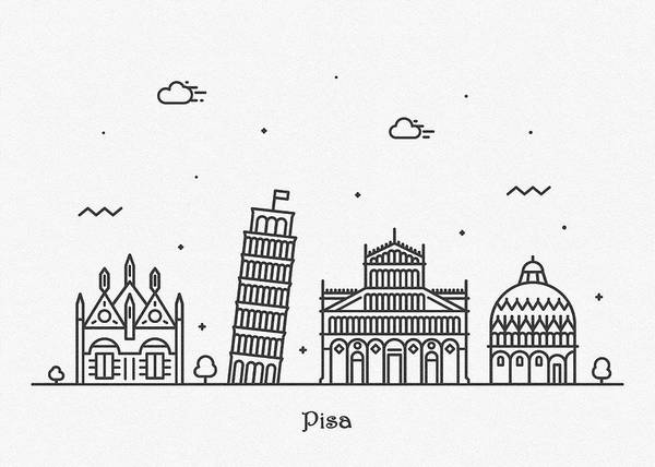 Wall Art - Drawing - Pisa Cityscape Travel Poster by Inspirowl Design