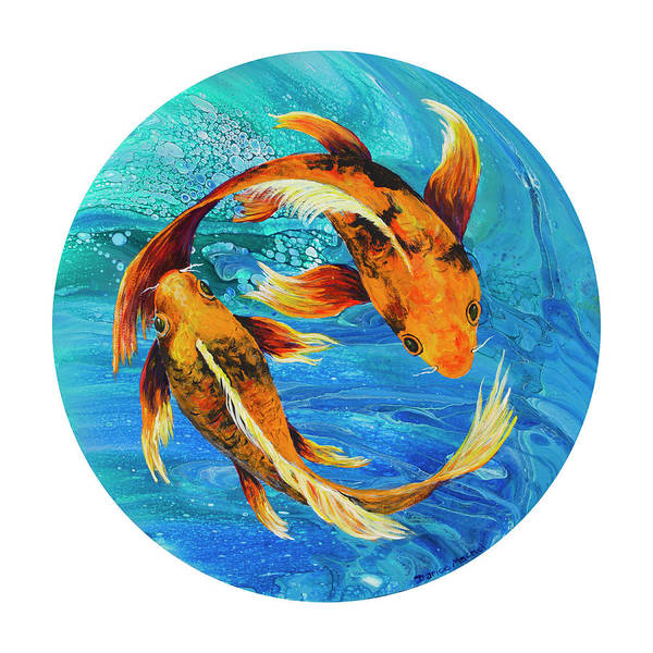 Painting - Pisces On White by Darice Machel McGuire