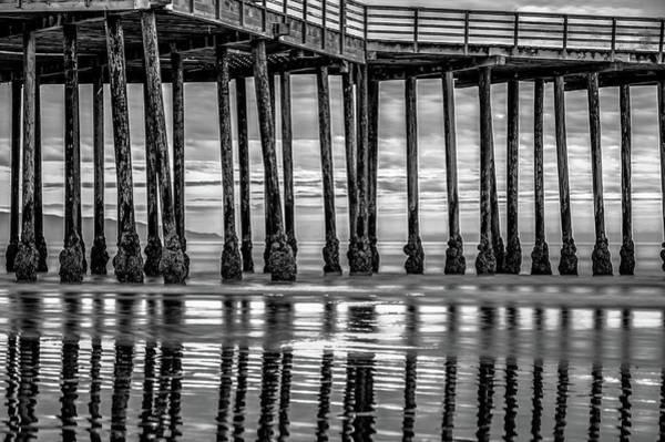Photograph - Pismo Beach Pier Ocean Reflections - Monochrome by Gregory Ballos