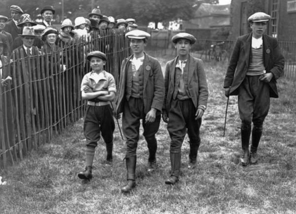 Black Cap Photograph - Pit Boy Jockeys by E Bacon