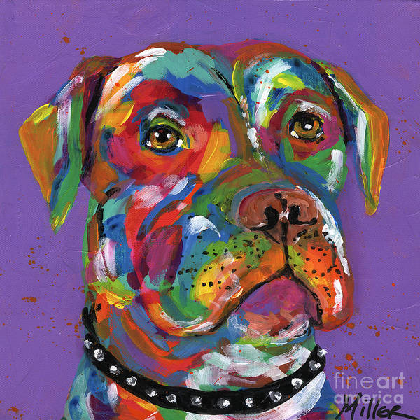 Wall Art - Painting - Pit Bull by Tracy Miller