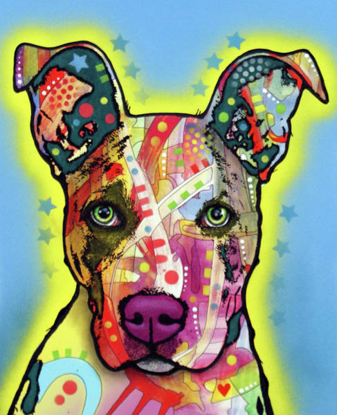 Wall Art - Painting - Pitbull Mix by Dean Russo Art