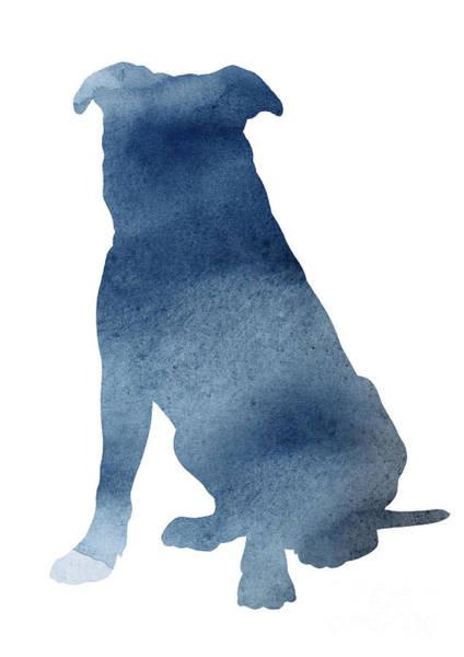 Wall Art - Painting - Pitbull Navy Blue Poster Dog Illustration Animal Home Art by Joanna Szmerdt