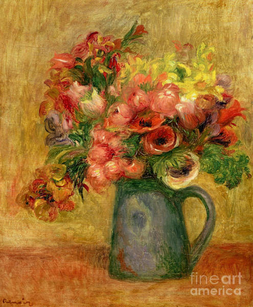 Wall Art - Painting - Pitcher Of Flowers, Circa 1889 by Pierre Auguste Renoir
