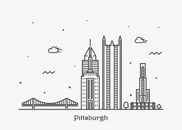 Wall Art - Drawing - Pittsburgh Cityscape Travel Poster by Inspirowl Design