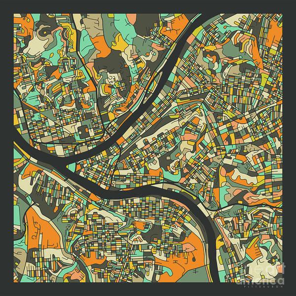 Wall Art - Digital Art - Pittsburgh Map 2 by Jazzberry Blue