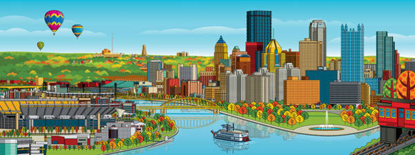 Hot Air Balloon Digital Art - Pittsburgh Panorama Autumn by Ron Magnes