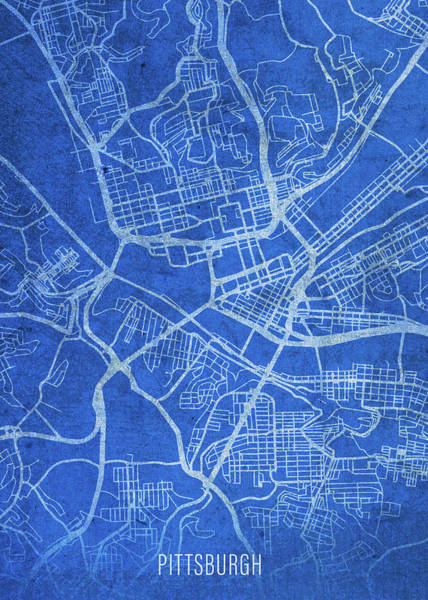 Wall Art - Mixed Media - Pittsburgh Pennsylvania City Street Map Blueprints by Design Turnpike