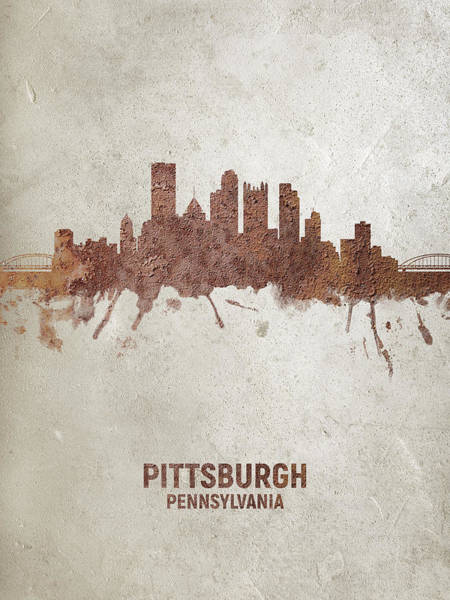 Wall Art - Digital Art - Pittsburgh Pennsylvania Rust Skyline by Michael Tompsett