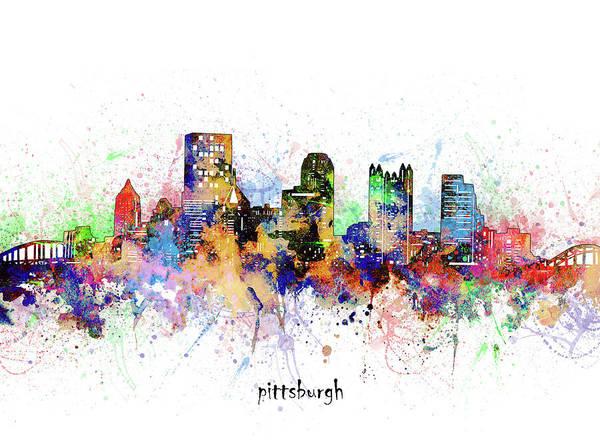 Wall Art - Digital Art - Pittsburgh Skyline Artistic by Bekim M