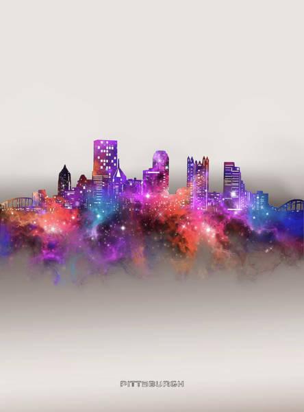 Wall Art - Digital Art - Pittsburgh Skyline Galaxy by Bekim M