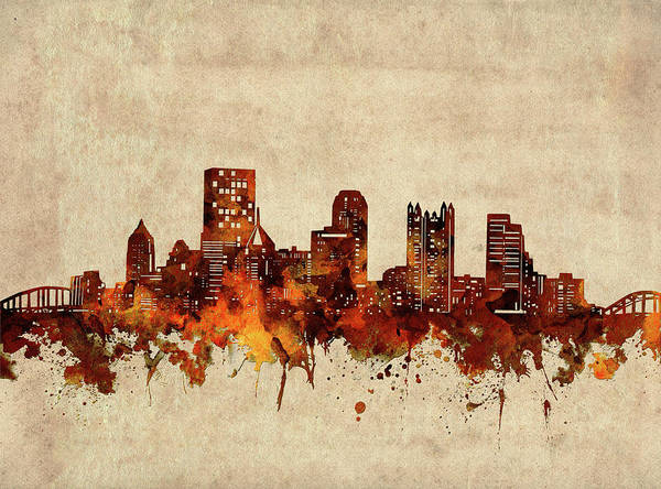 Wall Art - Digital Art - Pittsburgh Skyline Sepia by Bekim M