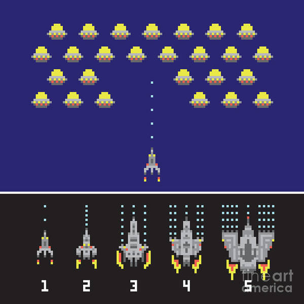 Wall Art - Digital Art - Pixel Art Style Space War And Spaceship by Dmitriylo