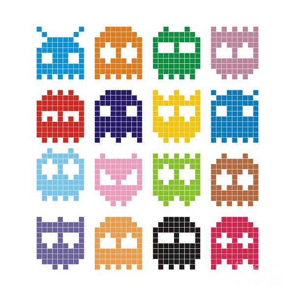 Wall Art - Digital Art - Pixel Monster Icon by Lazyvector