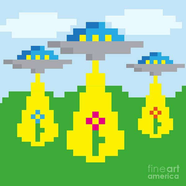 8 Wall Art - Digital Art - Pixel Vector Landscape With Ufo by Droidworker