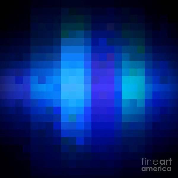 Digital Art - Pixelated Moonlit Sky by Rachel Hannah