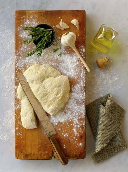 Wall Art - Photograph - Pizza Dough And Ingredients On Cutting by Brian Macdonald