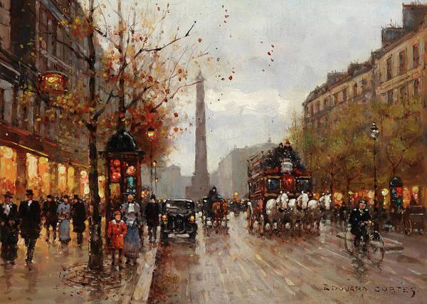 Parisian Cafe Painting - Place De La Bastille by Edouard Leon Cortes