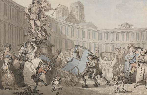 Drawing - Place Des Victoires, Paris by Thomas Rowlandson