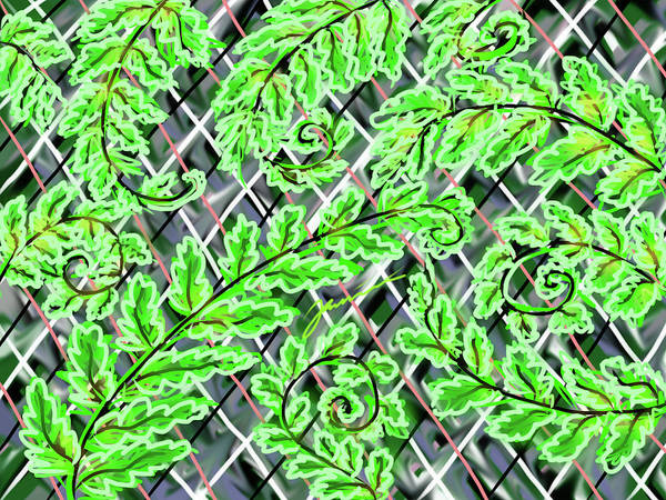 Painting - Plaid Ferns by Jean Pacheco Ravinski