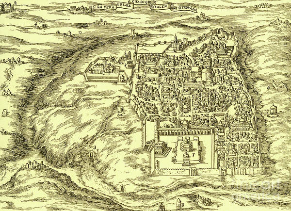 Wall Art - Drawing - Plan Of Jerusalem Circa 1600 by Israeli School