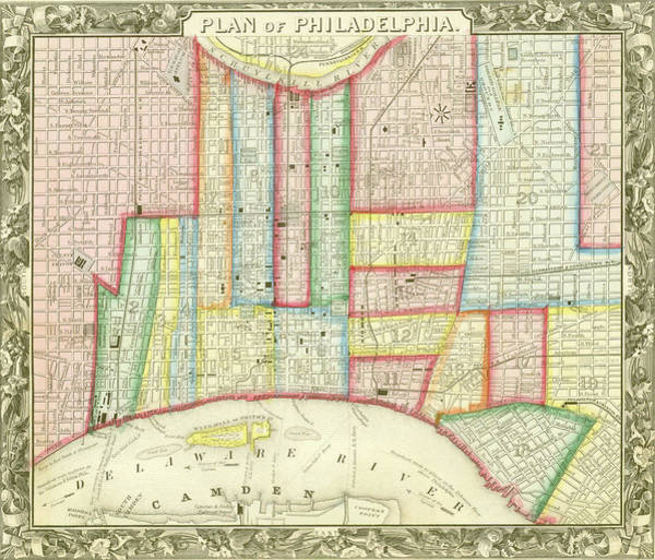 Plan Of Philadelphia, 1860 Art Print