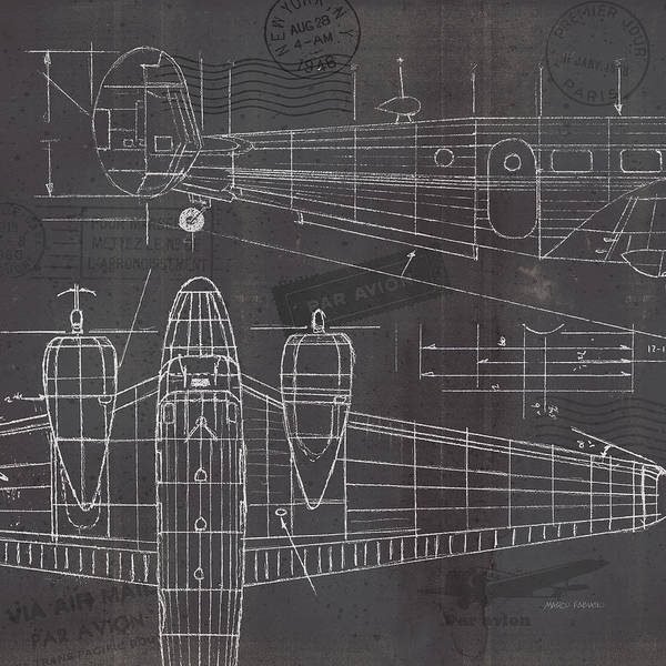 Wall Art - Painting - Plane Blueprint II by Marco Fabiano