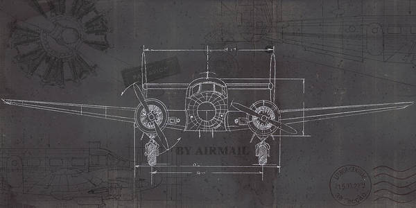 Draft Painting - Plane Blueprint Iv Wings by Marco Fabiano