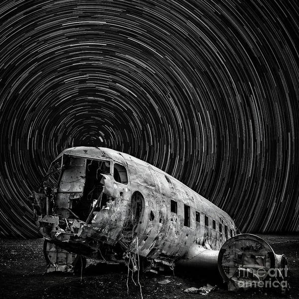 Wall Art - Photograph - Plane Crash Star Trail Iceland by Edward Fielding