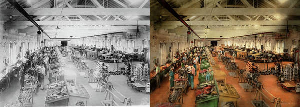 Photograph - Plane - Factory - Aircraft Repair 1919 - Side By Side by Mike Savad