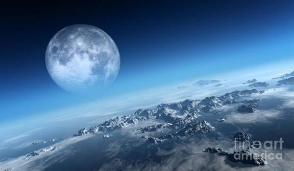 Atmosphere Wall Art - Digital Art - Planet Earth Icy Ocean And Rocky by Johan Swanepoel