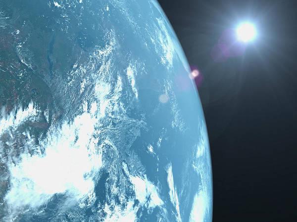 Beginnings Photograph - Planet Earth, Satellite View by Caspar Benson