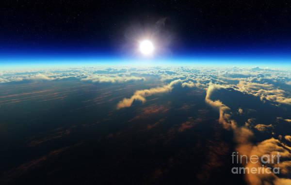 Wall Art - Digital Art - Planet Earth Sunrise Over Cloudy Ocean by Johan Swanepoel