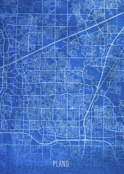 Wall Art - Mixed Media - Plano Texas City Street Map Blueprints by Design Turnpike